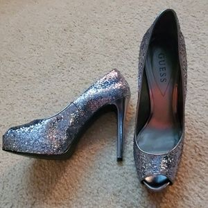 Guess peep toe glitter pumps size 8